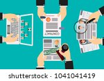 selection of resumes by a human ... | Shutterstock .eps vector #1041041419
