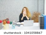 business woman working at... | Shutterstock . vector #1041058867