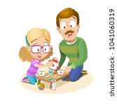cartoon illustration of father... | Shutterstock .eps vector #1041060319