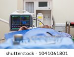 close up image of a cardiogram...   Shutterstock . vector #1041061801