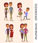 happy young family couple set...   Shutterstock . vector #1041064231