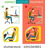 correct and incorrect sitting... | Shutterstock . vector #1041064801