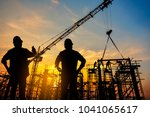 silhouette construction worker... | Shutterstock . vector #1041065617