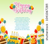 happy birthday gift card and... | Shutterstock .eps vector #1041067285