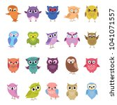 Stock vector cartoon cute owls set funny and angry colored birds big collection vector illustration 1041071557