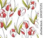 tulip flower graphic red green... | Shutterstock .eps vector #1041072151