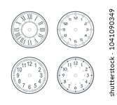 clock face set with roman and... | Shutterstock .eps vector #1041090349