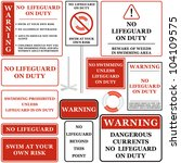no lifeguard on duty sign set 1 ... | Shutterstock .eps vector #104109575