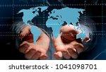 view of a businessman holding a ... | Shutterstock . vector #1041098701