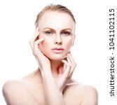 beauty caucasian fashion model... | Shutterstock . vector #1041102115