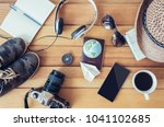 travel accessories trip... | Shutterstock . vector #1041102685