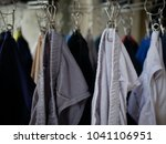 Stock photo underwear hanging on the cloth rack 1041106951