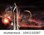 man in a fantasy costume of a... | Shutterstock . vector #1041110287