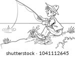 fisherman with a fishing rod on ...   Shutterstock .eps vector #1041112645