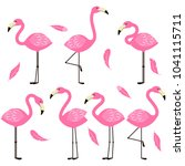 pretty flamingo and feathers... | Shutterstock .eps vector #1041115711