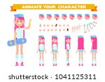 teenage girl with skateboard in ... | Shutterstock .eps vector #1041125311
