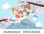 cute cartoon family travel... | Shutterstock .eps vector #1041132631