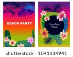 beach party cards set. retro... | Shutterstock .eps vector #1041134941