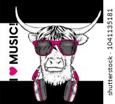 bull with horns in glasses and... | Shutterstock .eps vector #1041135181