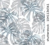 tropical leaves. seamless... | Shutterstock .eps vector #1041136561