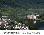 cochem city by moselle river ... | Shutterstock . vector #1041149191