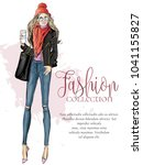 street style fashion woman with ... | Shutterstock .eps vector #1041155827