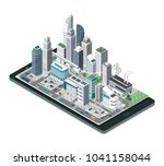 smart city  augmented reality... | Shutterstock .eps vector #1041158044