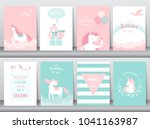 Stock vector set of birthday cards poster invitations cards template greeting cards animals unicorn fantasy 1041163987