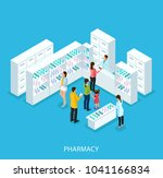 isometric pharmacy store... | Shutterstock .eps vector #1041166834