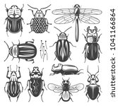 vintage insects collection with ... | Shutterstock .eps vector #1041166864