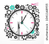 time icon with cogs. big clock... | Shutterstock .eps vector #1041168955