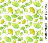 green leaves watercolor...   Shutterstock . vector #1041170959