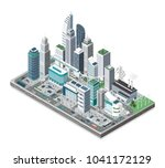 smart city with skyscrapers ... | Shutterstock .eps vector #1041172129