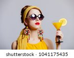 young redhead girl in 70s... | Shutterstock . vector #1041175435