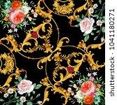 design of kerchief with flowers ... | Shutterstock . vector #1041180271