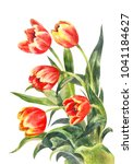 watercolor bouquet of red... | Shutterstock . vector #1041184627