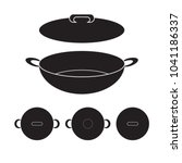 wok chinese pan icon vector... | Shutterstock .eps vector #1041186337