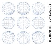 set of 3d spheres globe earth... | Shutterstock .eps vector #1041202771