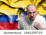 angry man against flag of... | Shutterstock . vector #1041209719