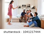 group of friends at home having ... | Shutterstock . vector #1041217444