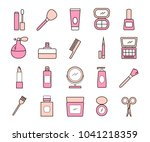 colored cosmetics and beauty... | Shutterstock .eps vector #1041218359