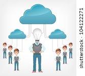 Cloud Service Concept. Grey Gradient Background. Vector EPS 10. - stock vector