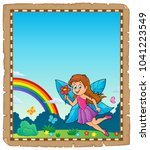 parchment with happy fairy... | Shutterstock .eps vector #1041223549
