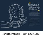 futuristic android hand holding ...   Shutterstock .eps vector #1041224689