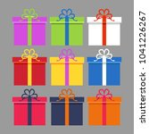 wrapped colorful gift boxes set.... | Shutterstock . vector #1041226267