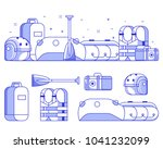 rafting icon set and concept... | Shutterstock .eps vector #1041232099