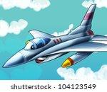 Cartoon jet fighter - stock photo