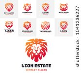 tiger and lions face logo badge ... | Shutterstock .eps vector #1041236227