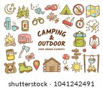 hand drawn camping and outdoor... | Shutterstock .eps vector #1041242491