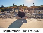 smiling healthy barefoot woman... | Shutterstock . vector #1041250939